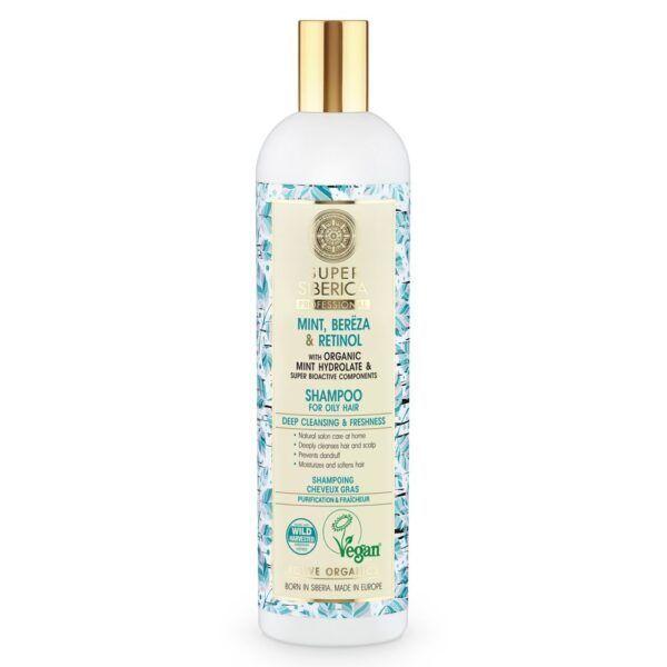 Šampon za mastno lasišče z meto, brezo in retinolom – Super Siberica Professional, 400 ml – Natura Siberica