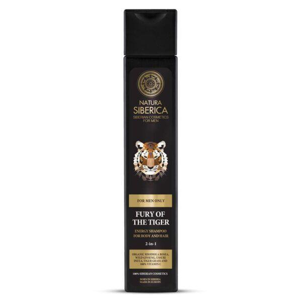 Energijski gel za prhanje in šampon 2-v-1 za moške, Moč tigra, 250 ml – Natura Siberica